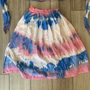 Vintage Skirts - Vintage | Tie Dye Two Piece Crop Top & Skirt Set